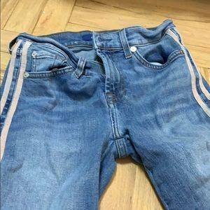 7 pink stripe jeans
